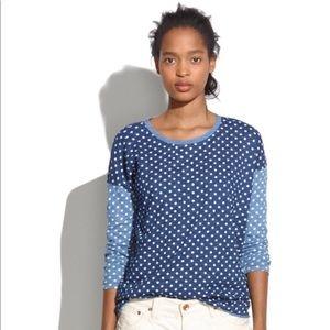 Madewell for J. Crew polka dot T-shirt denim blue